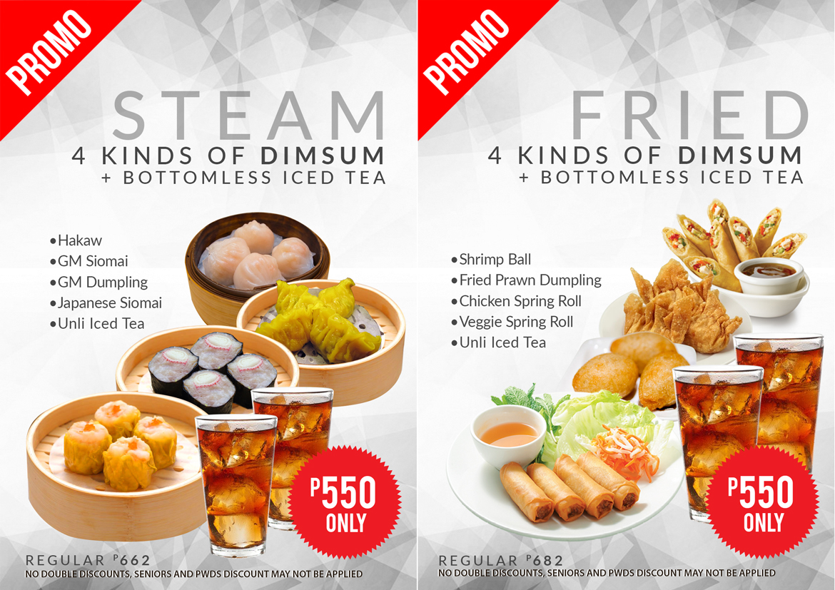 Dimsum promo! 4 kinds of stamed and fried.