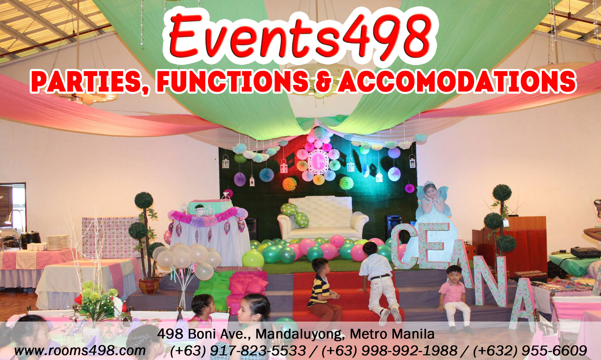 Parties functions accomodations room rentals Events498 - www.rooms498.com