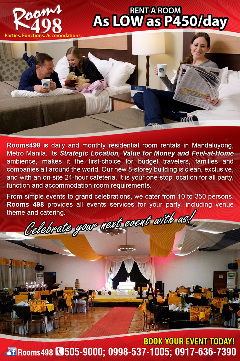 RENT A ROOM AS LOW AS P 450 PER DAY WWW.ROOMS498.COM 0998-992-1988
