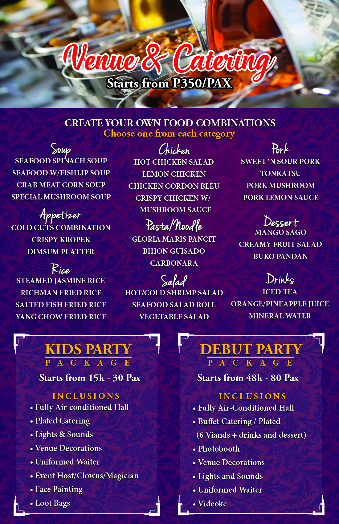 kids Party and Debut Party Packages