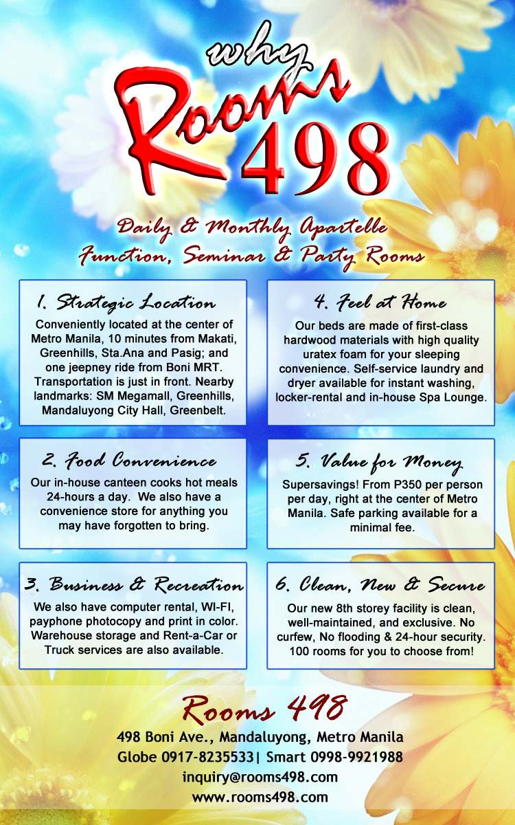 ROOMS498 DAILY AND MONTHLY RESIDENTIAL ROOM RENTALS www.rooms498.com