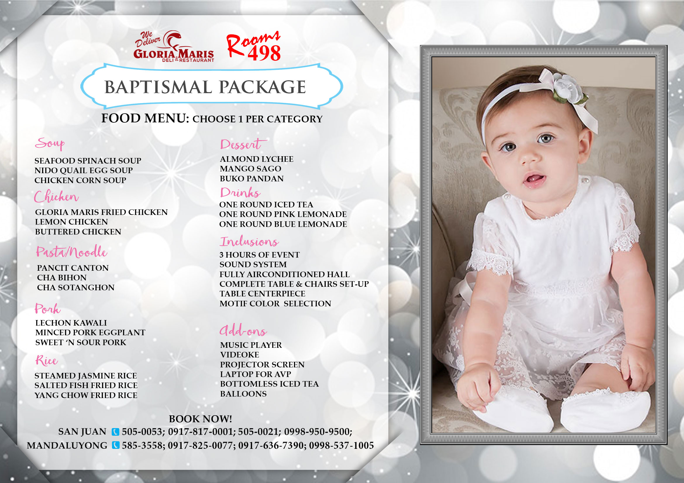 christening Package/ First Birthday all in package. complete setup