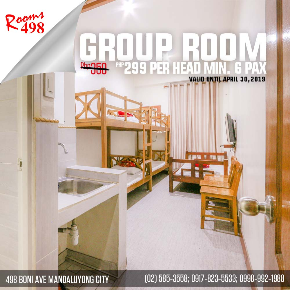 Hot Deal Group Room for only 299 per pax.rooms498.com