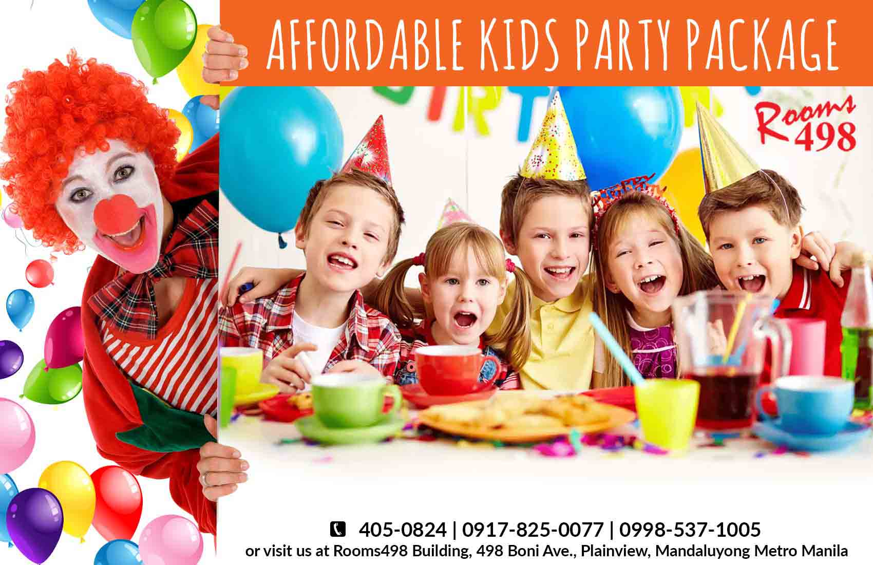 Affordable Kids Party with all in packages in Metro Manila. rooms498.com
