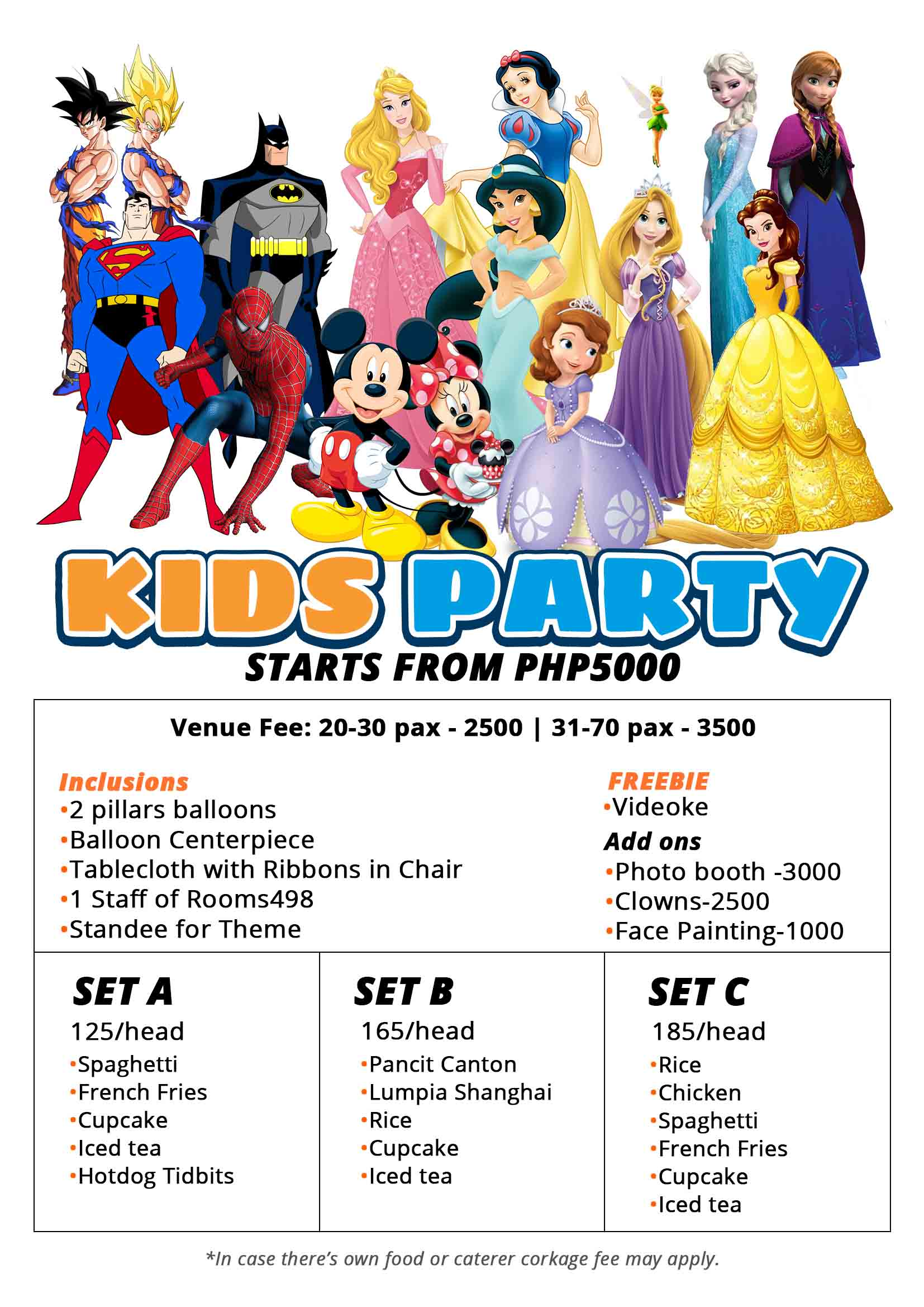 Affordable kids party venue with all in packages rooms498.com