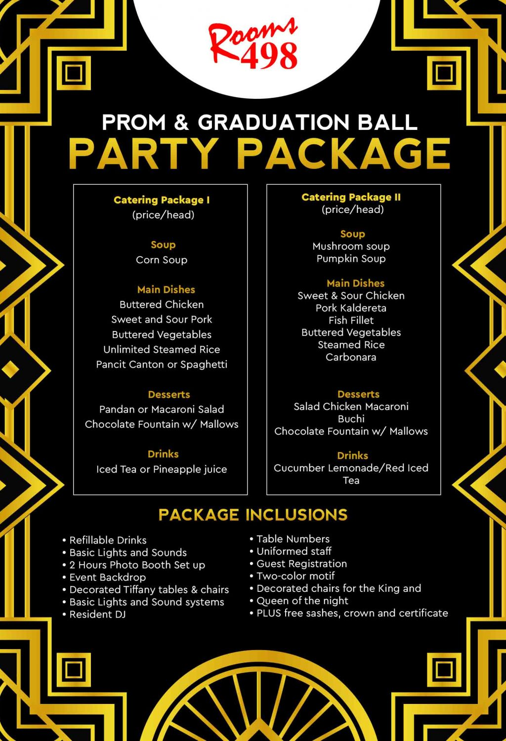 Prom and GradBall Party Packages rooms498.com